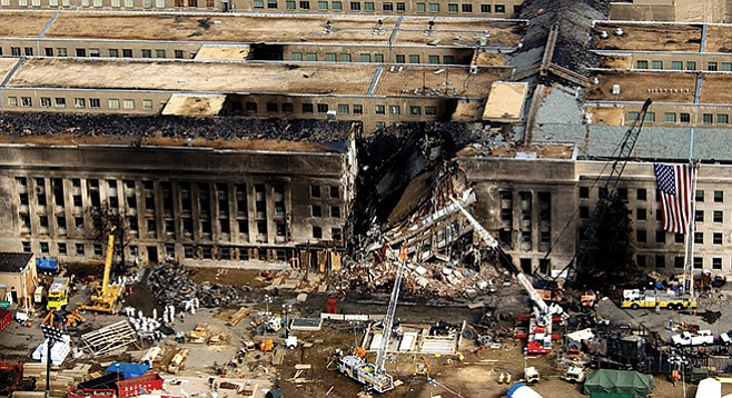 Pentagon after American Airlines flight 77 crashed into it. Hazmi and Mihdhar were two of the five hijackers of this flight on September 11, 2001.