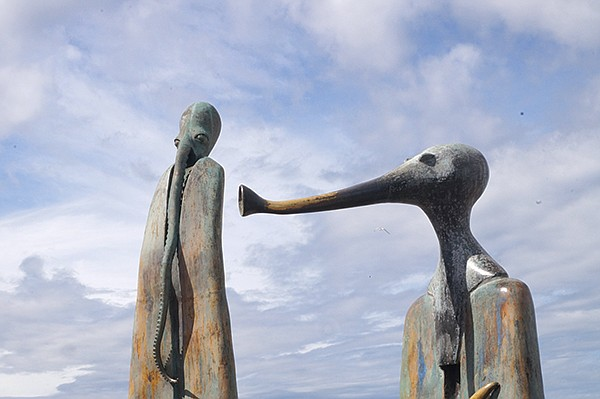 Plascencia wants something different, original, like these interactive sculptures called La Rotonda del Mar, situated on the boardwalk of the beach city of Puerto Vallarta.