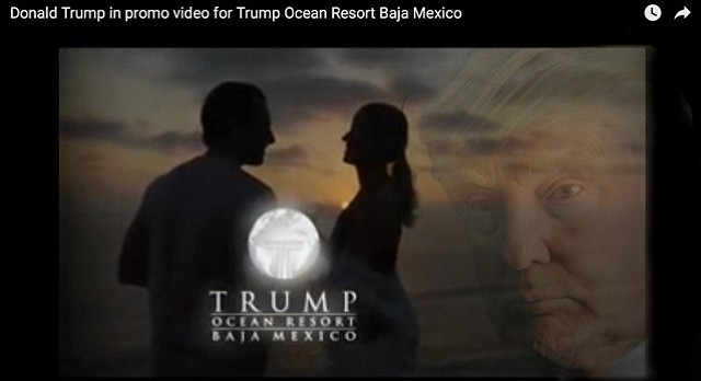 """Still taken from Trump's Baja Resort promo video, which began to include the haunting, regretful visage of the great developer only after the project failed, a development that has baffled paranormal researchers and mystic spiritualists alike. """"If anything,"""" says Trump of the ghostly image, """"it shows how much I care about quality."""""""