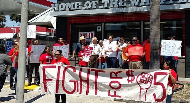 The Fight for 15 at the Home of the Whopper's front door
