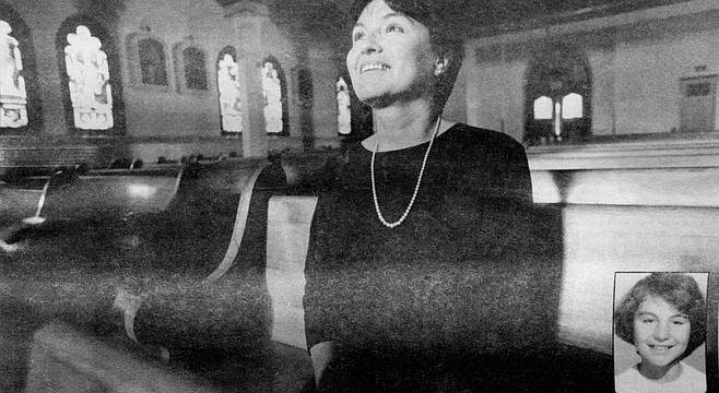 Mary Padilla at Our Lady of Angels Church; inset, Padilla in 1955