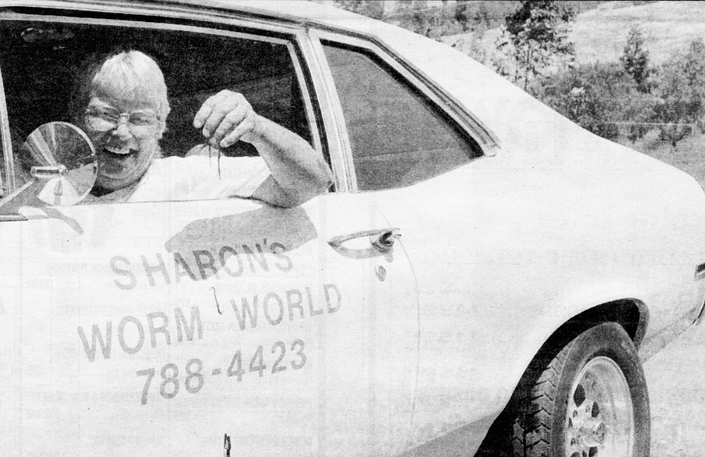 "Sharon McClachlan delivers worms to nurseries in a 1970 Chevy Nova that says ""WORM WOMAN"" on the trunk."