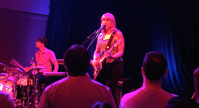 Wye Oak's Andy Stack handles drums and keyboards simultaneously, which is an impressive feat to observe.