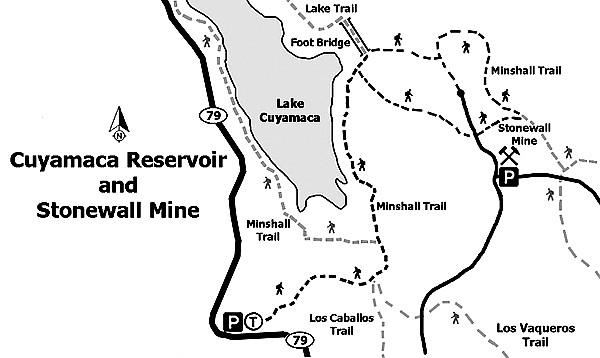 Cuyamaca Reservoir  and Stonewall Mine trail map