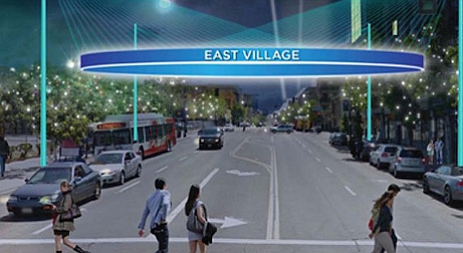 Rendering of East Village sign at night