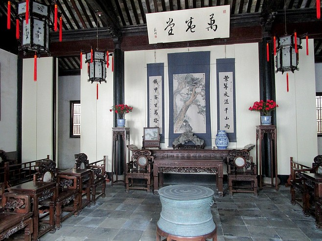 Traditional Chinese residence on display.
