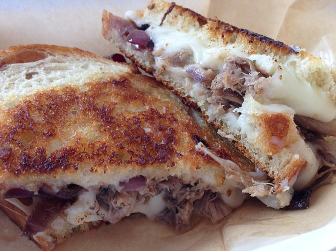 The duck confit grilled cheese tasted every bit as fatty and rich as this looks.