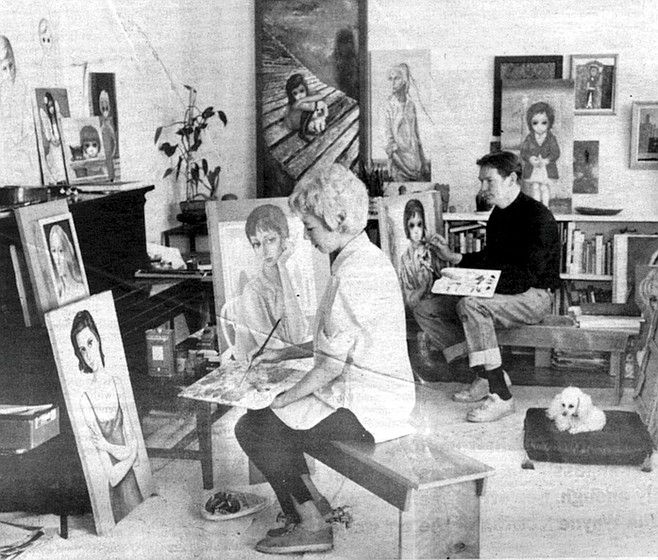 The Keanes in their San Francisco studio, c. 1961. Throughout the weeks he was interviewed for this story, Mr. Keane's moods fluctuated from friendly to suspicious to hostile to friendly again, sometimes within the same minute.