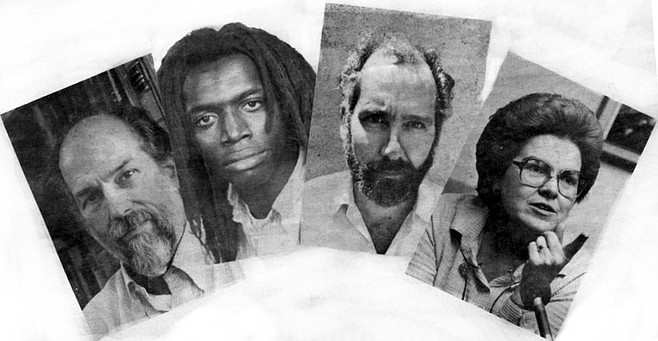 """Left to right: Larry McGilvery, Edward Lawson, Meinhart Lagies, Dorothea Morefield. The McGilverys sold nearly 300 copies of Tropic after the trial. Lawson told the jury how his arrests were """"a miniature Holocaust."""" Lagies: """"It's obvious I was blacklisted."""""""
