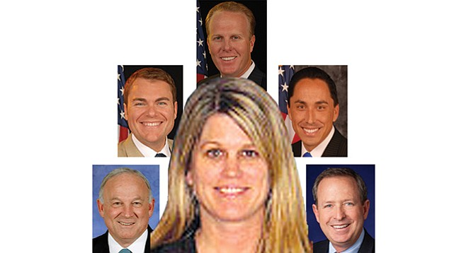 Jaymie Bradford and her stepping stones to the chamber of commerce (clockwise from top): Kevin Faulconer, Todd Gloria, James Madaffer, Jerry Sanders, Carl DeMaio