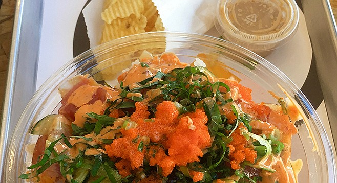 Tuna and salmon poke bowl at Pokirrito