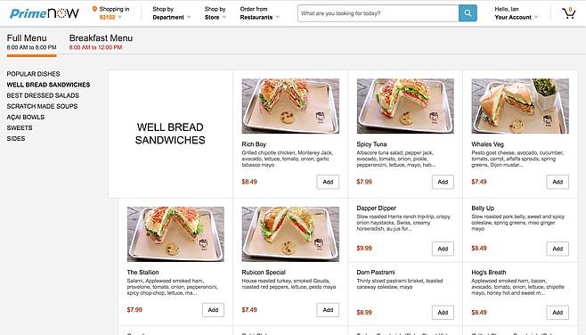 Ordering Rubicon Deli sandwiches via Amazon Restaurants