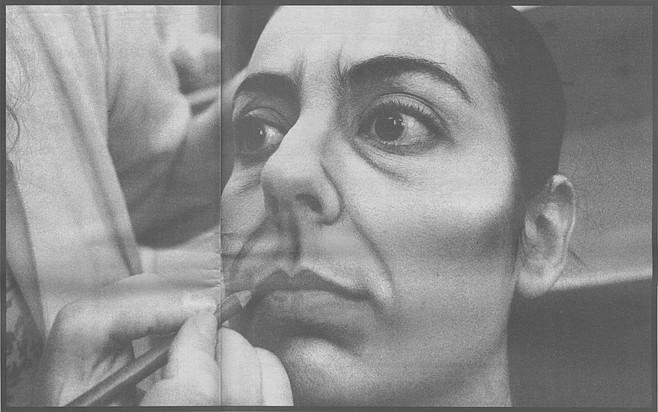 Contralto Ellen Rabiner in makeup for Rappaccini's Daughter