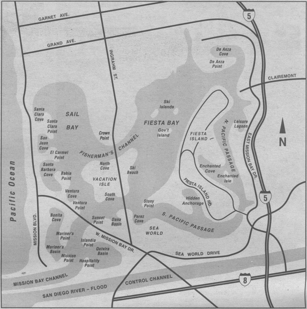 Map of Mission Bay. Virtually all of the sand and silt dredged from Mission Bay was redistributed elsewhere within the bay. Earnest says the only sand that was piped out of the park was dumped on Mission Beach.