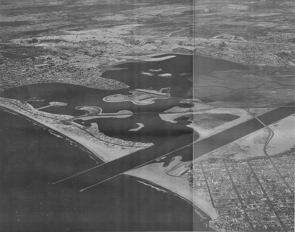 Mission Bay, c. 1956. In about 1950, Marian Marchant from Beverly Hills presented her idea for a trailer park on De Anza Point. Her see-through blouses tended to rivet the attention of the city fathers, as did her credit rating.