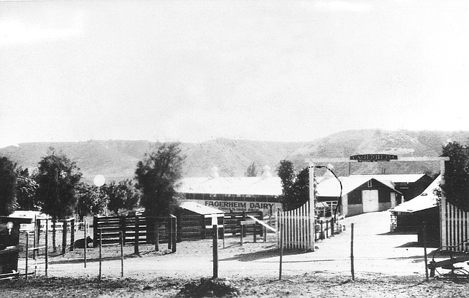 "Fagerheim Dairy, 1927. ""Fagerheim was a place where my father went to school — somewhere in Norway. The house was set back from Friars Road, and there were four barns in front of it. One was built adjacent to Friars Road. To the east of the house was the Fenton property. Friars Road was the first road in California."""