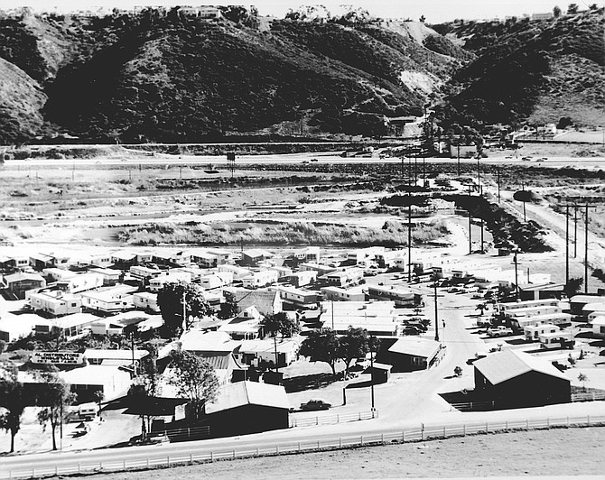 """Ohre mobile home park, Mission Valley, 1975. """"After we closed the dairy, we decided to start a mobile-home park. Dr. Askew who was opposed to mobile-home parks because of typhoid. I went to Dr. Askew  and said that any time the authorities had asked the Ohre family to comply with milk regulations, they had done so."""""""