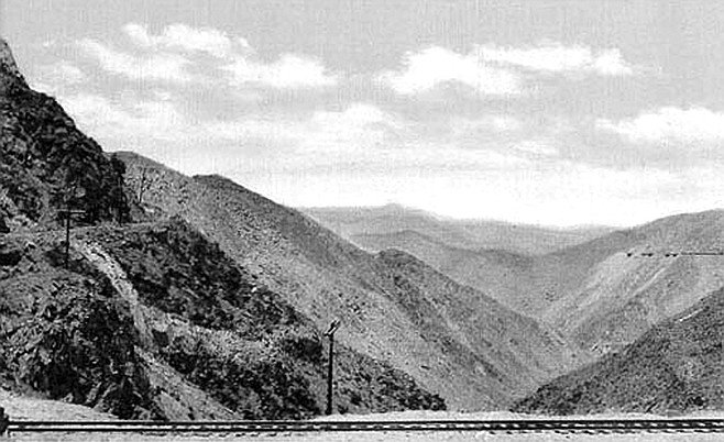 Postcard of Carrizo Gorge, San Diego & Arizona Eastern Railroad. There was never land more ill-suited for train tracks.