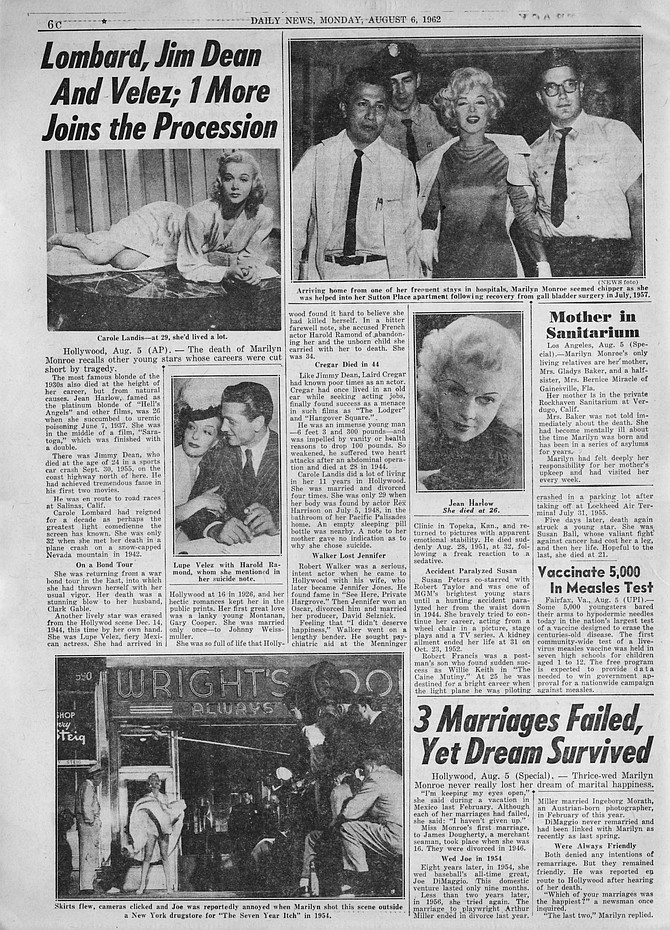 "From Jean Harlow and Carole Lombard to Laird Cregar and James Dean, a parade of Hollywood notables whose career was likewise ""cut short by tragedy."" New York Daily News, August 6, 1962."