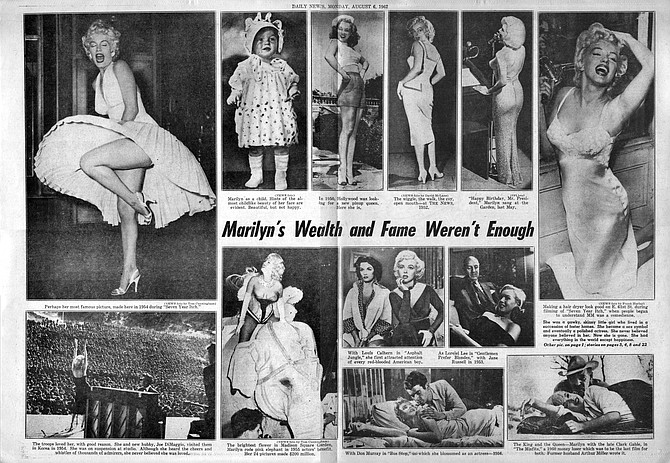 A gatefold pictorial commemorative to the wealth, fame, and tragedy that was Marilyn. New York Daily News, August 6, 1962.