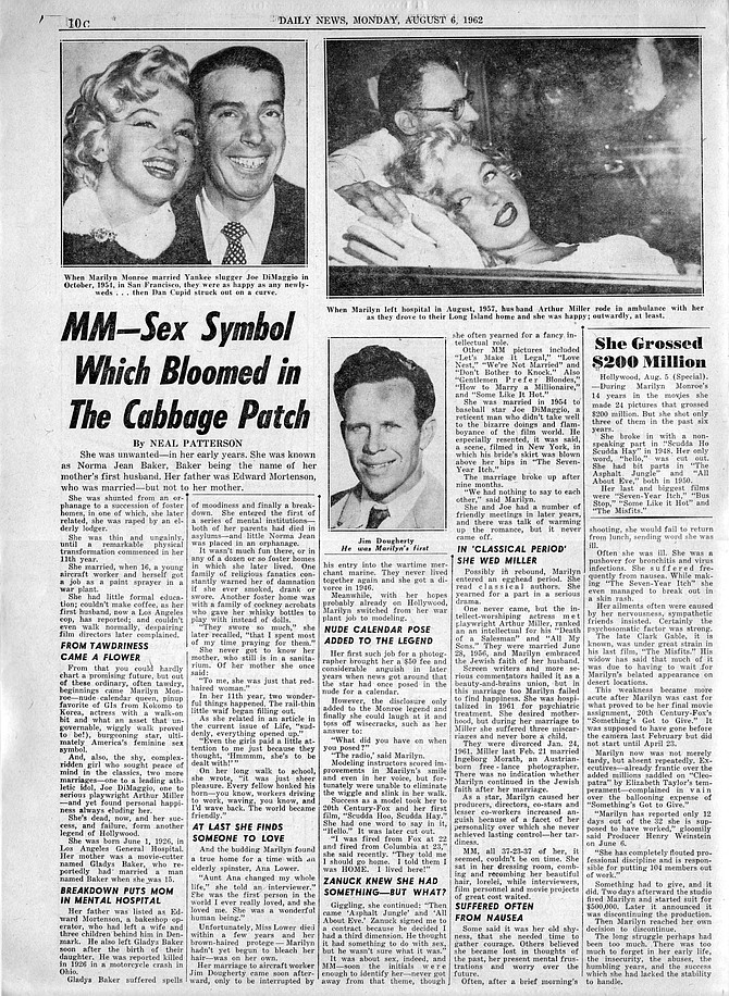 """""""From tawdriness came a flower"""" and other anecdotal observations. New York Daily News, August 6, 1962."""