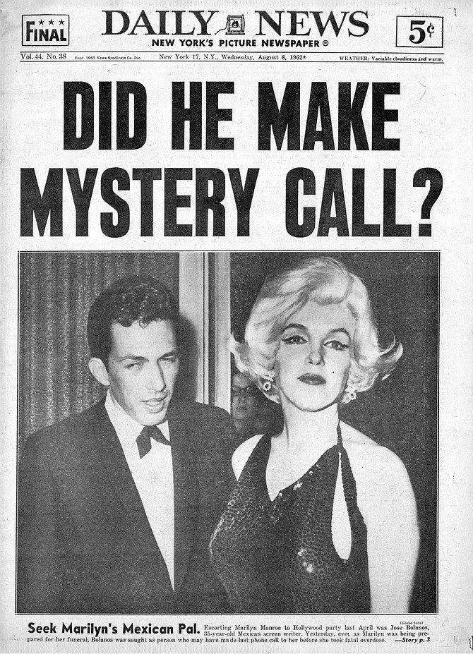 Was Mexican screenwriter Jose Bolanos the last person to speak with Marilyn? New York Daily News, August 8, 1962.