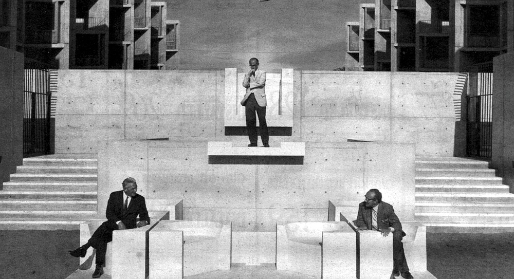 Left to right: Augustus Kinzel (institute president), Jonas Salk (founder), and Jacob Bronowski at the new Salk Institute (1968). Salk was piqued by Bronowski's wrestling with science and ethics.