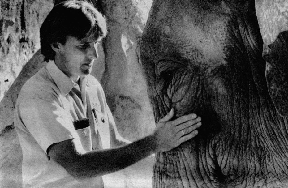 """Alan Roocroft with Cindy. """"In Sri Lanka you've got the wild elephant in the national parks, you have the worker elephant in the logging camps, and you also have the zoo elephant."""""""