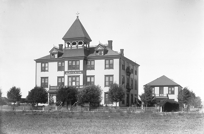 """Saint Joseph's Hospital, 6th and University, 1898. """"Picturesquely situated on an eminence near where the road begins to descend into the historic Mission Valley...."""""""