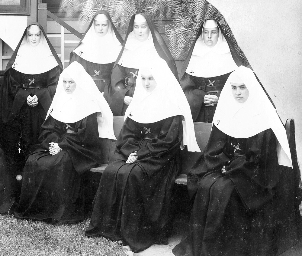 Back row, left to right: Sister M. Teresa Keleher, Sister M. Gabriel Gardiner, Mother M. Michael Cummings, Mother Josephine Smith; front row: Sister M. Genevieve Moultin, Sister M. Regina Monroe, Sister M. Veronica Dean