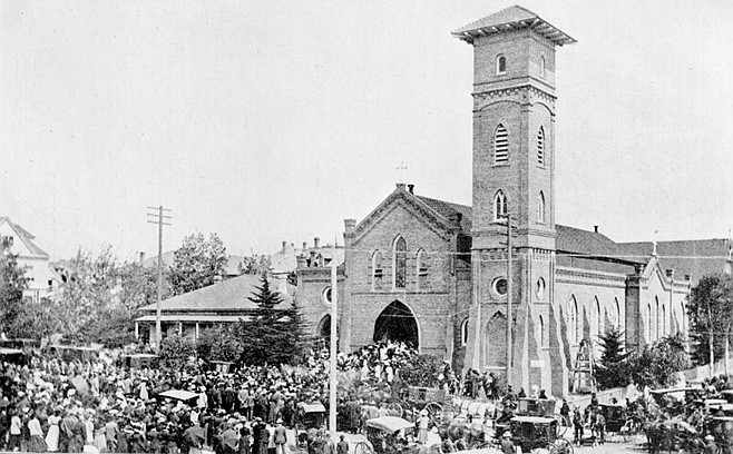 """Father Ubach's funeral, St. Joseph's Church. """"How great then was the sisters' joy.. .when they learned that Father Ubach was coming to the Hospital as a patient. They received him with open arms, apologies were made and pardon asked by both parties."""