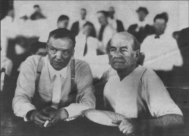 "Clarence Darrow and William Jennings Bryan during the Scopes ""Monkey"" Trial, 1925"