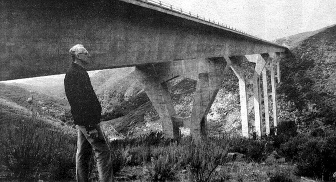Bert Bezzone at the Pine Valley Creek Bridge. We have not met before, but I've heard plenty about Bezzone from other bridge engineers and acquaintances who admit they stop to look at bridges. - Image by Peter Jensen