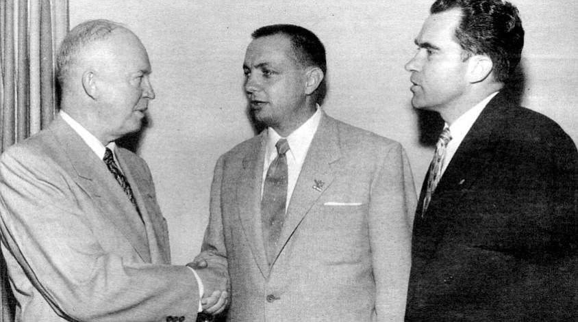 "General Dwight Eisenhower, Bob Wilson, Nixon, c. 1952. Copley to Nixon: ""I tried this Berlin idea on Bob Finch and Bob Wilson this weekend."""