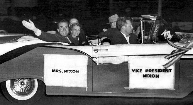The Nixon campaign travels down Broadway in San Diego, October 1956. Copley knew Nixon even before he ran for Congress.