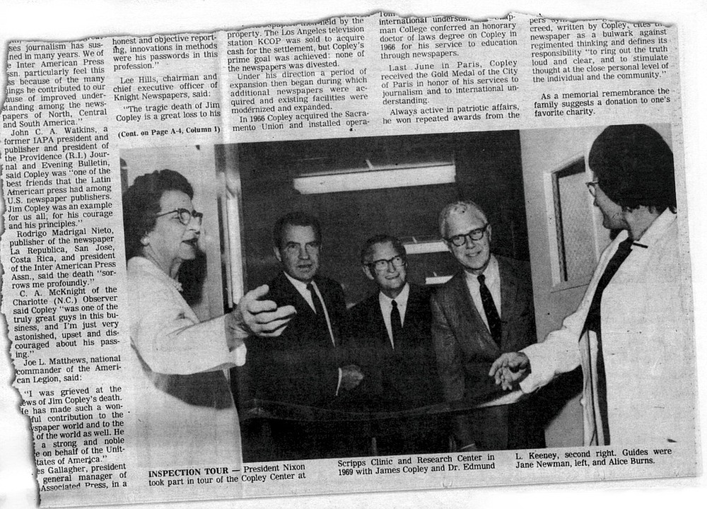 Copley postmortem coverage, San Diego Evening Tribune, October 8, 1973 Copley's widow Helen assumed complete control over the newspaper chain and announced that there would be major changes.