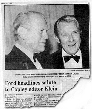 San Diego Evening Tribune, November 22, 1986. Herb Klein, now 76 and physically ailing, is ensconced in a glass-walled penthouse office at the U-T filled with Nixon memorabilia.