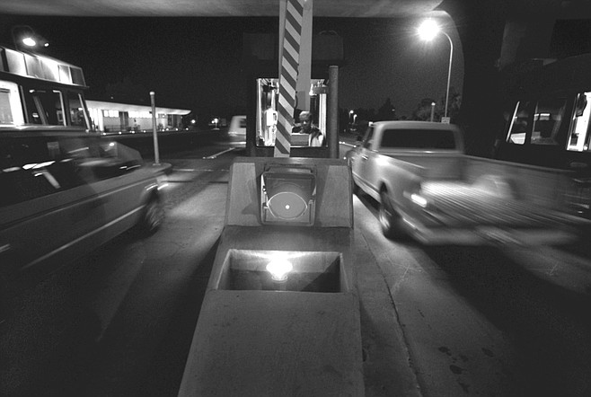 The bridge toll booth. Some people worry that if the tollbooths are gone, people will hit the island at about 80 mph.