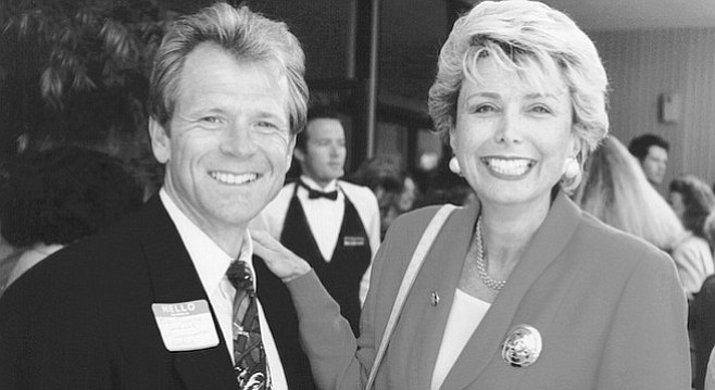 Peter Navarro with Lynn Schenk (D-CA, 1993-95) from cover story he wrote for the Reader on political life.