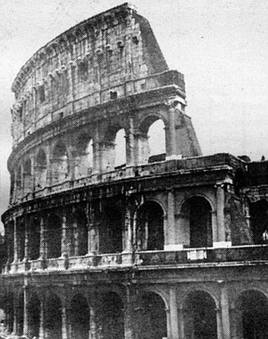 Outer Wall of the Coliseum. Unlike other Roman forms such as the church, the arena was effectively forgotten until the 20th Century.