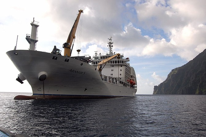 The cargo-cruiser Aranui is the main link for trade and transport in the Marquesas Islands.