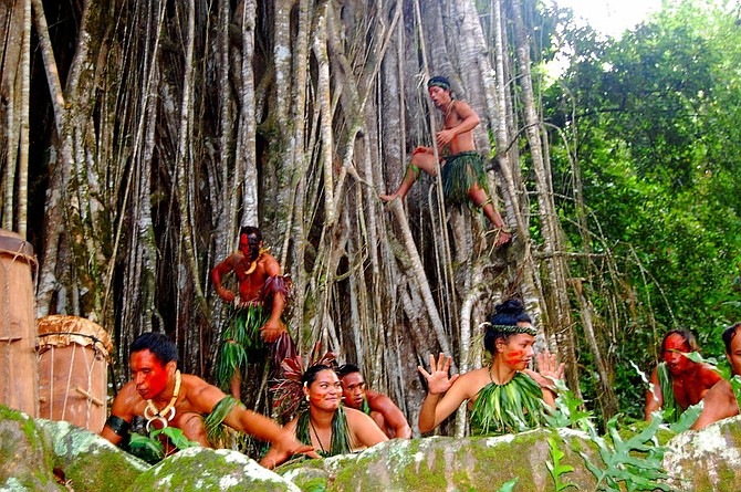 The dancers at the Kamuihei ceremonial site in Nuku Hiva were so exuberant during their thrilling performance that some even climbed the banyan tree.