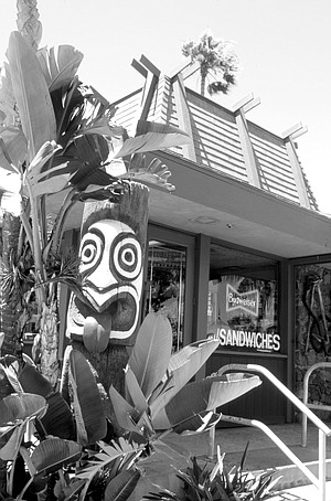 """Trader Mort's Liquor & Deli, Shelter Island Drive. """"One of the most perfect tiki commercial buildings"""" Bevil has ever seen."""
