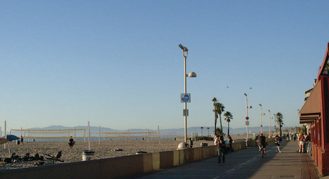 Officially called the South Bay Bicycle Trail, the Strand runs 22 miles up the coast from Redondo to Santa Monica.