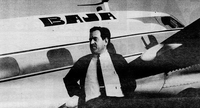 Francisco Muñoz and his Baja Airlines planes, c. 1950s.  By 1962 Muñoz had become a main character in Gardner's travel books.