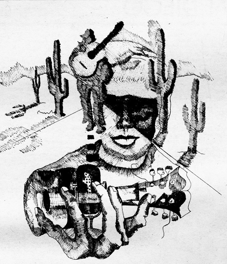 Illustration of a rock and roll desert