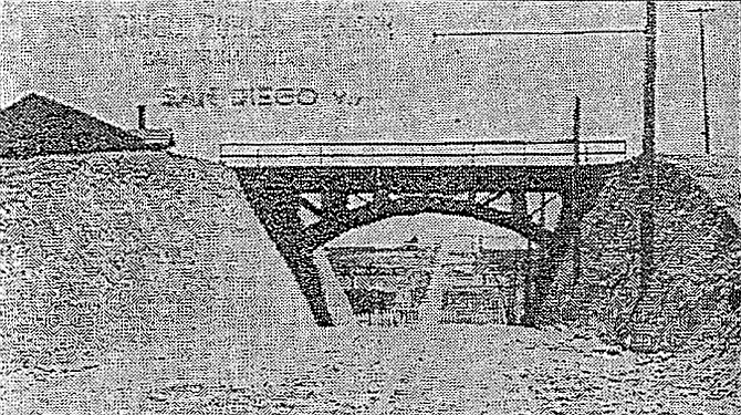A smaller redwood bridge was built in 1907 after the high ridge of Georgia Street was cut to allow an electric streetcar line to travel beyond city limits. (SDPL, 1907)