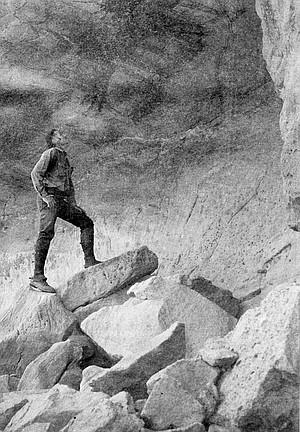 Harry Crosby at El Batequi cave painting, 1974