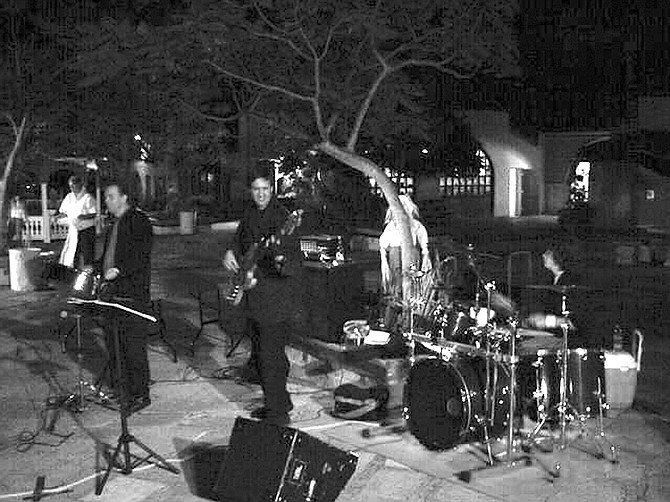 Band playing at the Art Glass Association of Southern California party