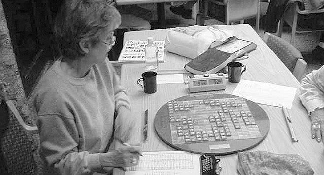 Woman calculating points